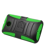Insten Hard Hybrid Plastic Silicone Stand Case with Holster For Motorola Google Nexus 6 - Black/Green