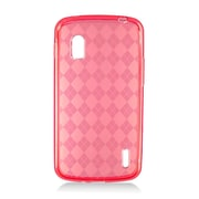Insten Checker Rubber Transparent Case For LG Google Nexus 4 E960 - Red
