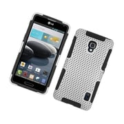 Insten TPU Rubber Hard PC Candy Skin Mesh Case Cover For LG Optimus F6 - White/Black