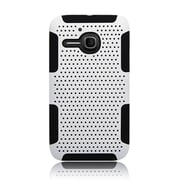 Insten TPU Rubber Hard PC Candy Skin Mesh Case Cover For Alcatel One Touch Evolve - White/Black