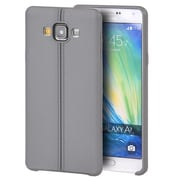 Insten Leather Look Finish Slim Jacket TPU Rubber Gel Case For Samsung Galaxy A7 - Gray