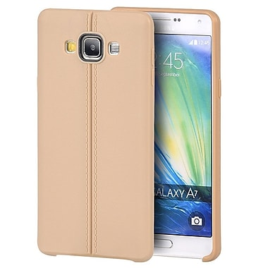Insten Leather Look Finish Slim Jacket TPU Rubber Gel Case For Samsung Galaxy A7 - Gold