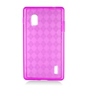 Insten Checker Rubber Transparent Cover Case For LG Optimus G E970 - Hot Pink