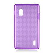 Insten Checker Gel Transparent Case For LG Optimus G E970 - Purple