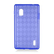 Insten Checker TPU Clear Case For LG Optimus G E970 - Blue