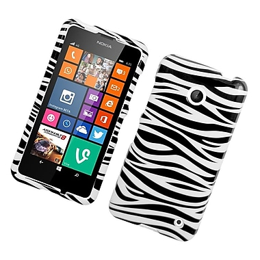 Insten Zebra Hard Rubber Coated Case For Nokia Lumia 630/635 - White/Black