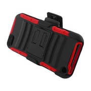 Insten Advanced Armor Dual Layer Hybrid Stand PC/Silicone Holster Case Cover for Apple iPod Touch 5th Gen - Black/Red