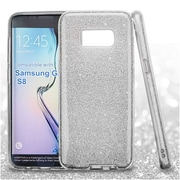 Insten Glitter Bling Hybrid Hard PC/TPU Dual Layer Protective Case For Samsung Galaxy S8 - Silver