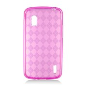 Insten Checker TPU Clear Case For LG Google Nexus 4 E960 - Hot Pink