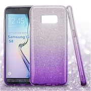 Insten Glitter Bling Hybrid Hard PC/TPU Dual Layer Protective Case For Samsung Galaxy S8 - Purple/Silver