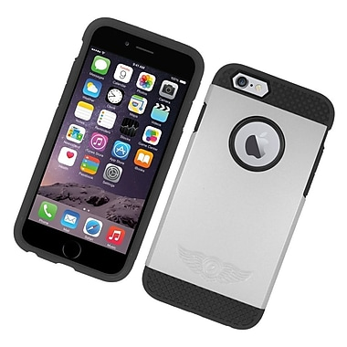 Insten Hard Hybrid Rubberized Silicone Case For Apple iPhone 6/6s - Silver/Black
