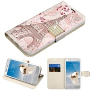 Insten Diamante MyJacket Wallet Leather Flip Case For LG Aristo/Fortune/K8 (2017)/LV3/Phoenix 3 - Eiffel Tower