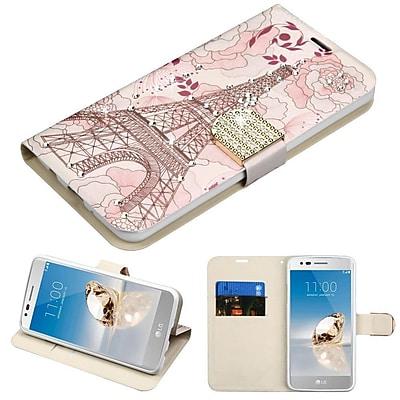 Insten Diamante MyJacket Wallet Leather Flip Case For LG Aristo/Fortune/K8 (2017)/LV3/Phoenix 3 - Eiffel Tower