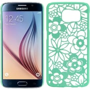 Insten Flower Leaf Hard Plastic Cover Case For Samsung Galaxy S6 - Teal/White
