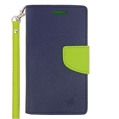 Insten Leather Wallet Case with Lanyard & Card Slot For LG Leon/Power/Tribute 2/Destiny/Risio - Dark Blue/Green