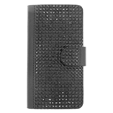 Insten Leather Wallet Bling Case with Card slot For LG Leon/Power/Tribute 2/Destiny/Risio - Black