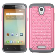 Insten Hard Hybrid Shockproof Rubberized Silicone Case w/Diamond For Alcatel One Touch Elevate - Pink/Gray