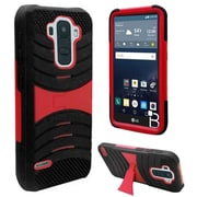 Insten Soft Dual Layer Rubber Hard Case w/stand For LG G Stylo - Black/Red