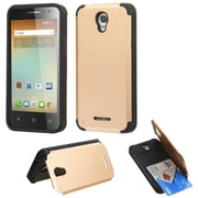 Insten Hard Rubber Case w/card holder For Alcatel One Touch Elevate - Gold