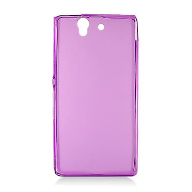Insten Transparent Frosted TPU Rubber Candy Skin Case Back Cover For Sony Xperia Z - Purple