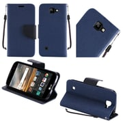 Insten Folio Leather Fabric Case Lanyard w/stand For LG K3 - Blue/Black
