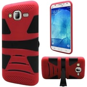 Insten Hard Hybrid Rubberized Silicone Cover Case with stand For Samsung Galaxy J7 (2015) - Red/Black