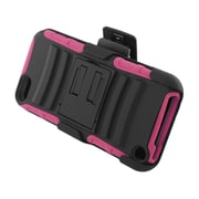 Insten Advanced Armor Hybrid Stand PC/Silicone Holster Case Cover for Apple iPod Touch 5th Gen - Black/Hot Pink