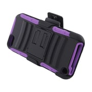Insten Advanced Armor Dual Layer Hybrid Stand PC/Silicone Holster Case Cover for Apple iPod Touch 5th Gen - Black/Purple