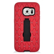 Insten Symbiosis Hard Hybrid Silicone Cover Case w/stand/Diamond For Samsung Galaxy S7 - Red/Black