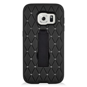 Insten Symbiosis Hard Dual Layer Rubber Coated Silicone Case w/stand/Diamond For Samsung Galaxy S7 - Black