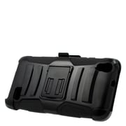 Insten Hard Dual Layer Plastic Silicone Stand Case with Holster For Huawei Pronto - Black