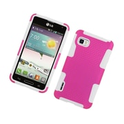 Insten TPU Rubber Hard PC Candy Skin Mesh Case Cover For LG Optimus F3 LS720 - Hot Pink/White