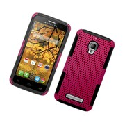 Insten TPU Rubber Hard PC Candy Skin Mesh Case Cover For Alcatel One Touch Fierce - Hot Pink/Black