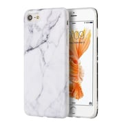 iPhone 7 Case, by Insten TPU Marble Stone Pattern Texture Visual IMD Shell Rubber Case For Apple iPhone 7 - White