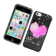 Insten Flowery Heart Hard Case For Apple iPhone 5C - Black/Hot Pink