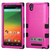 Insten For ZTE ZMAX Z970 Slim Hybrid Shockproof Rubber Hard Case Hot Pink/Black