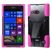 Insten For Nokia Lumia 735 Inverse Advanced Armor Stand Hybrid Rugged Hard Shockproof Soft Case Hot Pink