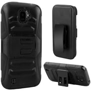 Insten Hard Dual Layer Plastic Silicone Case w/Holster For ZTE Citrine - Black