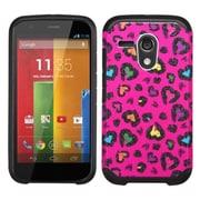 Insten Leopard Hard Hybrid Rubber Coated Silicone Case For Motorola Moto G (1st Gen) - Hot Pink/Black