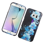 Insten Flowers Hard Cover Case For Samsung Galaxy S6 Edge - Blue/Black