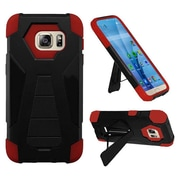 Insten Hard Dual Layer Plastic Silicone Case w/stand For Samsung Galaxy S7 - Black/Red