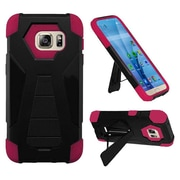 Insten Hard Hybrid Plastic Silicone Case w/stand For Samsung Galaxy S7 - Black/Hot Pink