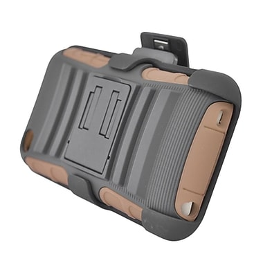 Insten Advanced Armor Hard Dual Layer Plastic Silicone Case w/stand/Holster For Apple iPod Touch 4th Gen - Gray/Brown