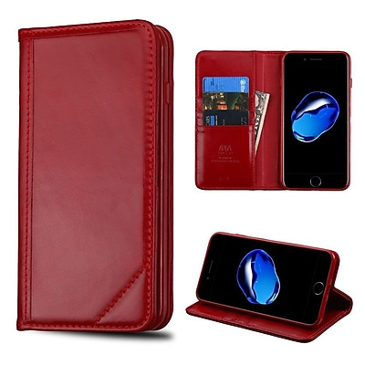 Insten Flip Leather Fabric Cover Case w/stand/card holder For Apple iPhone 7/ 8, Red