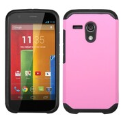 Insten Hard Dual Layer Rubberized Silicone Case For Motorola Moto G (1st Gen) - Hot Pink/Black