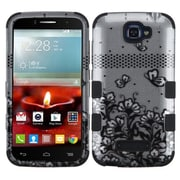 Insten Tuff Lace Flowers Hard Hybrid Rubberized Silicone Cover Case For Alcatel One Touch Fierce 2 7040T - Black