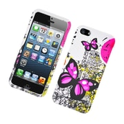 Insten Butterfly Hard Cover Case For Apple iPhone 5S 5 - White/Pink