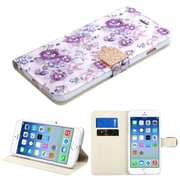 Insten Flowers Book-Style Leather Fabric Case w/stand/card slot/Diamond For Apple iPhone 6 / 6s - Purple/White