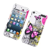 Insten Butterfly Hard Rubber Case For Apple iPod Touch 5th Gen - White/Pink