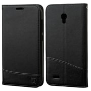 Insten Folio Leather Fabric Cover Case w/stand/card slot/Photo Display For Alcatel One Touch Conquest - Black